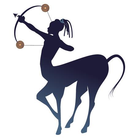Tribal zodiac. Sagittarius. Centaur, half man and half horse, with bow and arrow in shooting pose Vettoriali