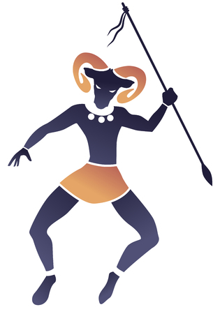 Tribal zodiac. Aries. Man with ram head and spear in hand dancing a tribal dance