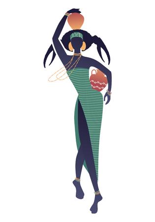 Zodíaco tribal. Cáncer. Mujer elegante con un peinado ornamental que simula un cangrejo; un vaso en la cabeza y otro en la cadera; aretes grandes y collares largos.