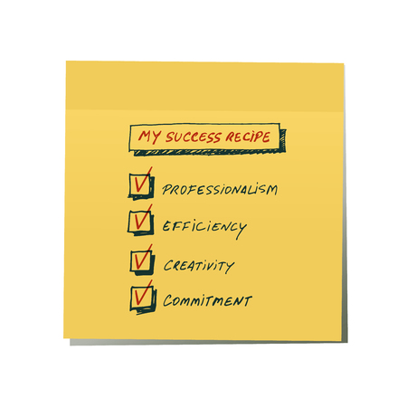 Success Recipe: List of requirements to achieve success written by hand on a yellow sticker. Isolated on white background.