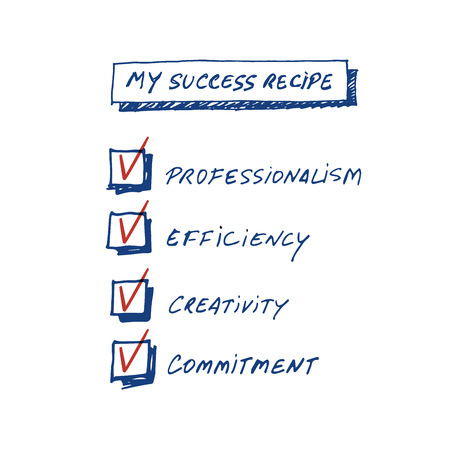 Success Recipe: List of requirements to achieve success written by hand, isolated on white background.
