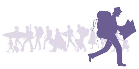 Silhouet van man met rugzak rennen en kijken naar een kaart. Groep diverse reizigers op de achtergrond