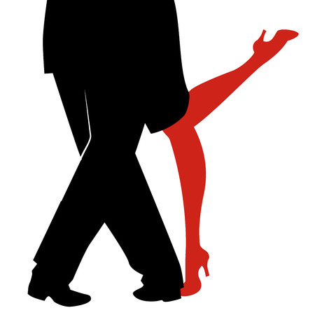 Legs of woman and man dancing tango on white background Illustration