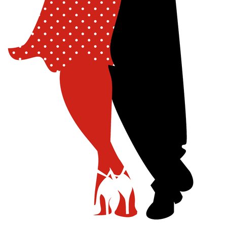 Legs of woman and man dancing swing on white background