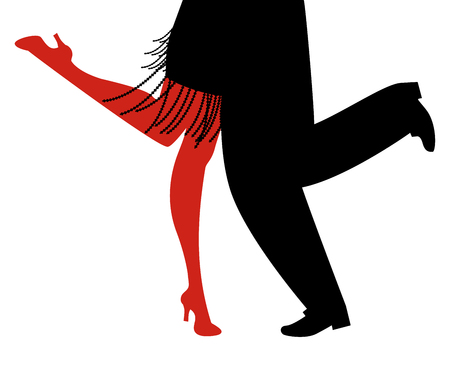 Legs of woman and man wearing retro clothes dancing Charleston on white background