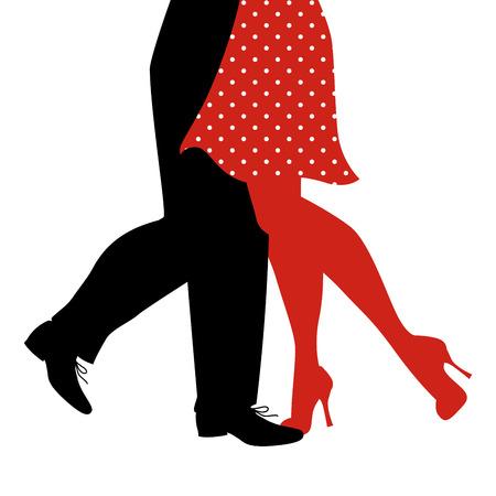 Beine der Frau und des Mannes tanzen Schaukel auf weißem Hintergrund Vektorgrafik