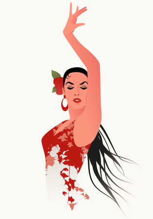 花のドレスと彼女の髪に花を身に着けている美しいスペインのフラメンコダンサー 写真素材 - 105383462
