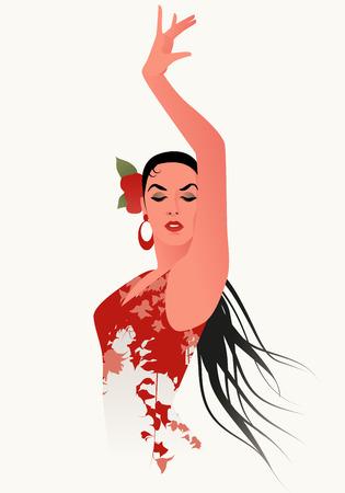 Mooie Spaanse flamencodanseres die bloemrijke jurk en bloem in haar haar draagt
