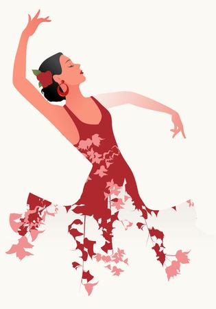 Belle danseuse de flamenco espagnole portant une robe fleurie et une fleur dans ses cheveux