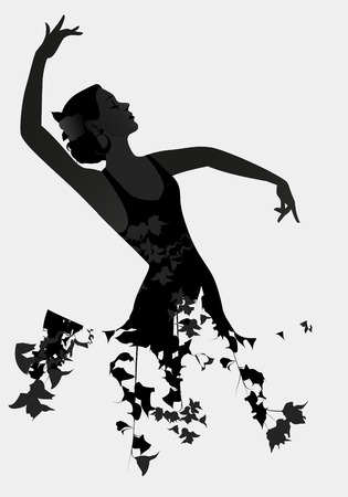 Silhouette of Spanish flamenco dancer isolated on white background