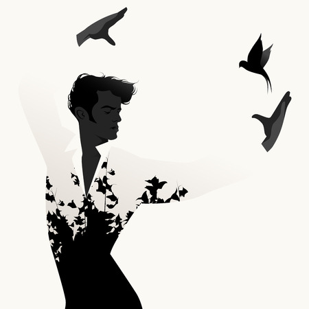 Silhouette of Spanish Flamenco dancer man and flying swallow on white background