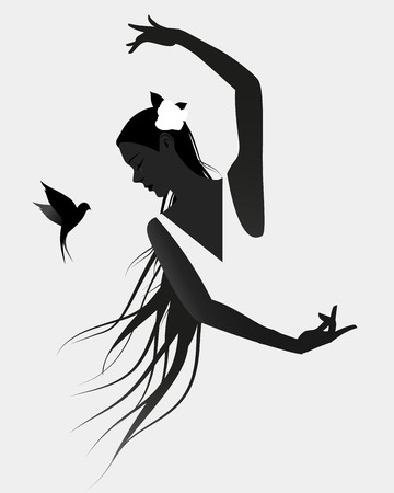 Silhouette of Spanish flamenco dancer wearing a flower in her long mane and flying swallow on white background