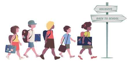 Group of kids with backpacks, briefcases, folders and books, back to school. Direction sign pointing direction holidays and return to school. Vector Illustration on white background. Illustration