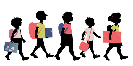 Group of kids silhouettes with backpacks, briefcases, folders and books, going to school on white background.
