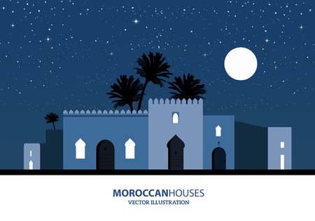 Night view of mediterranean, arabic or moroccan style houses, palm trees and the moon over starry background Vectores