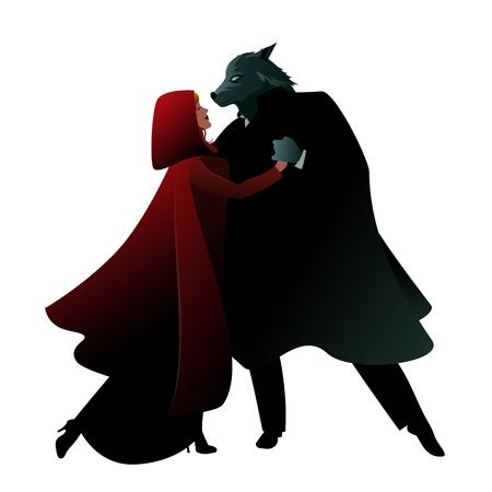 Rotkäppchen und der Wolf tanzen isoliert auf weißem Hintergrund Vektorgrafik