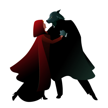Little Red Riding Hood and the Wolf dancing isolated on white background Illustration