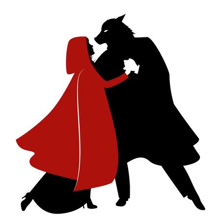 Sylwetki Czerwonego Kapturka i tańczącego Wilka na białym tle