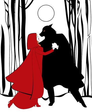 Czerwony Kapturek i Wilk tańczą w lesie w świetle pełni Księżyca