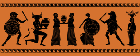 The first six signs of the zodiac as myths of ancient Greece in decorative border: Aries, Taurus, Gemini, Cancer, Leo, Virgo