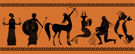 The last six signs of the zodiac as myths of ancient Greece in decorative border: Libra, Scorpio, Sagittarius, Capricorn, Aquarius, Pisces