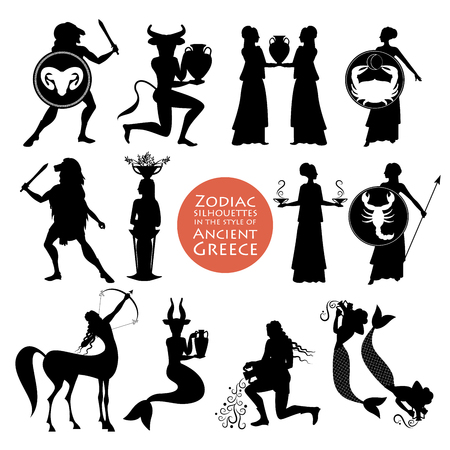 Silhouettes of zodiac signs in the style of ancient Greece isolated on white background Illustration