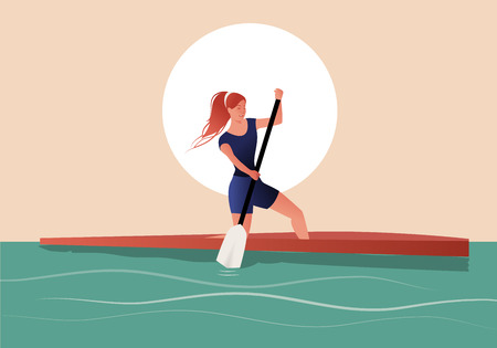 Athlete girl with hair in the wind practicing sporty rowing in a canoe Ilustracja