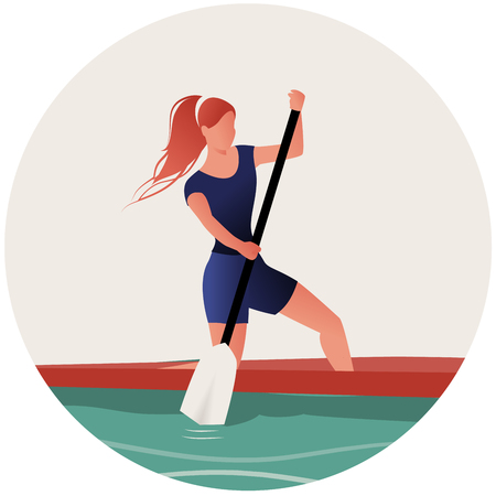 Athlete girl with hair in the wind practicing sporty rowing in a canoe Illusztráció