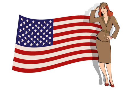 Army girl in retro style wearing soldiers uniform from the 40s or 50s doing military salute and USA flag on the background