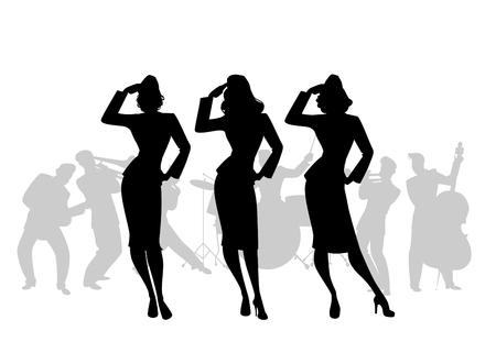 Siluetas de tres chicas del ejército en estilo retro cantando, haciendo saludo militar. Swing big band en el fondo