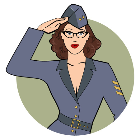 Army girl in retro comic style wearing glasses and soldiers uniform from the 40s or 50s doing military salute  イラスト・ベクター素材