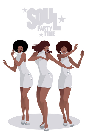 Three beautiful singers and soul dancers in the style of the sixties