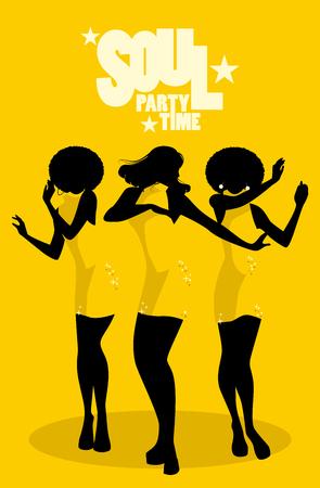 Siluetas de tres bailarinas y cantantes de soul al estilo de los años sesenta Ilustración de vector