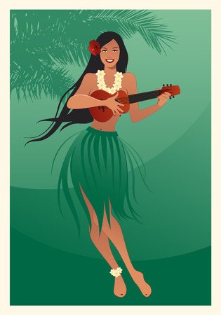 Beautiful and smiling Hawaiian girl wearing skirt of leaves playing ukulele and palm tree on green background Иллюстрация