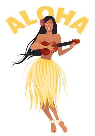 Beautiful and smiling Hawaiian girl wearing skirt of leaves playing ukulele isolated on white background. Retro style Vector Illustration