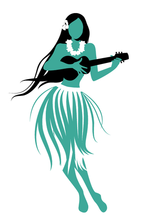 Silhouette of Hawaiian girl wearing skirt of leaves playing ukulele isolated on white background.