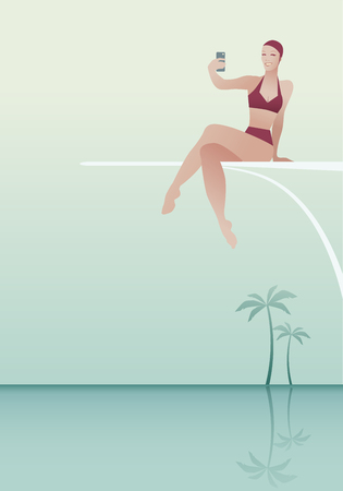 Woman sitting on a trampoline, taking a selfie over a pool. Palm trees in the background. Retro style.