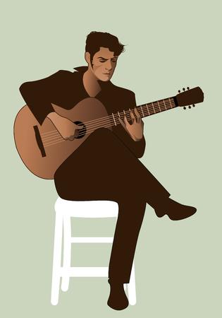 Spanish guitarist playing flamenco sitting on a chair Векторная Иллюстрация
