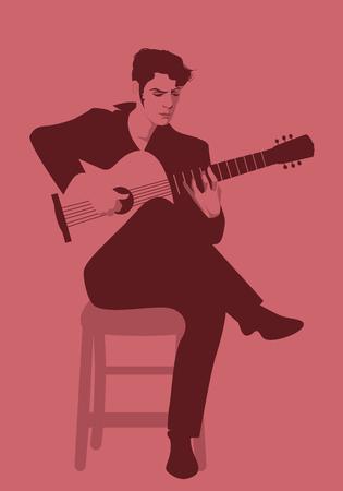 Spanish guitarist playing flamenco sitting on a chair Archivio Fotografico - 110076904