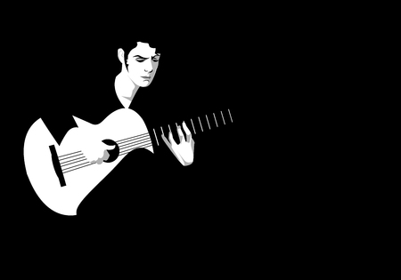 Spanish guitarist playing flamenco on black background