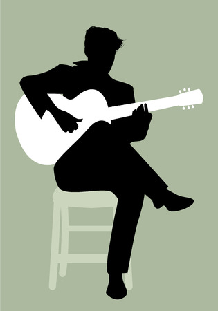 Silhouette of Spanish guitarist playing flamenco sitting on a chair