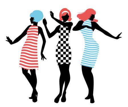 Elegantes siluetas de tres niñas con ropa de los años sesenta bailando estilo años 60 aislado sobre fondo blanco.