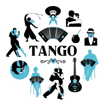 Symbolische Silhouetten rund um die Welt des Tango. Tänzer, Gauchos, Bandoneon, Gitarre