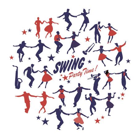 Silhouetten van geïsoleerde schommelingsdansers die een cirkel op witte achtergrond vormen