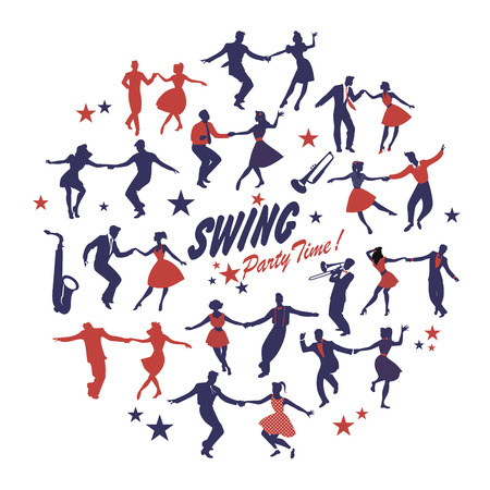 Siluetas de bailarines de swing aislados formando un círculo sobre fondo blanco.