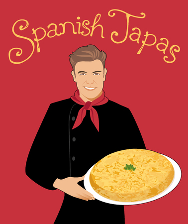 Spanish Tapas. Handsome Spanish chef holding a plate of typical Spanish potato omelette.