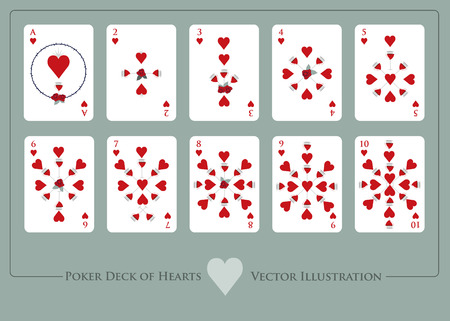 Deck of hearts. From Ace to ten of hearts. Deck of cups. Glasses of red wine and roses.