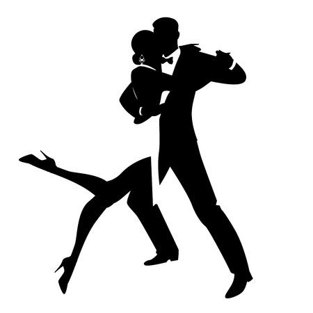 Siluetas de elegante pareja bailando danza romántica aislado sobre fondo blanco. Ilustración de vector