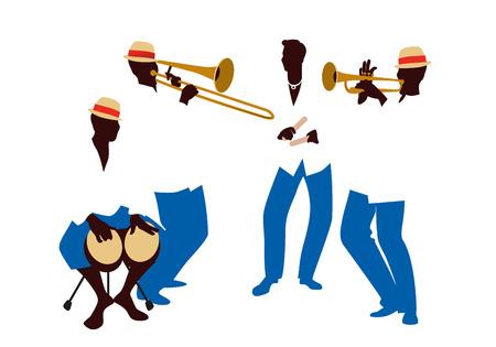 Banda latina Quattro musicisti latini che suonano bonghi, tromba, clave e trombone.