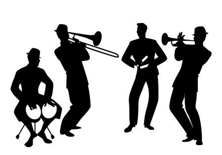 Siluetas de banda latina. Cuatro músicos latinos tocando bongos, trompeta, claves y trombón. Ilustración de vector